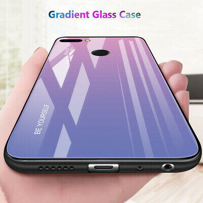 For Huawei Honor 9 10 Lite 8X MAX Tempered Glass Back Hybrid Cover Gradient Case