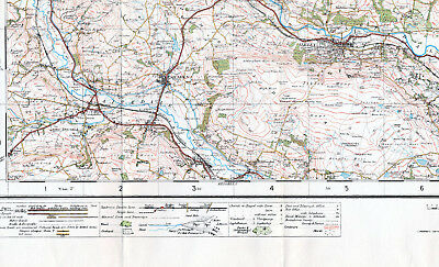 Yorkshire Ilkley Silsden Keighley 1930 small orig part map /cloth Steeton Denton