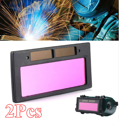 2Pcs Solar Panel Auto Darkening Welding Helmet Mask Lens Filter Shade Part