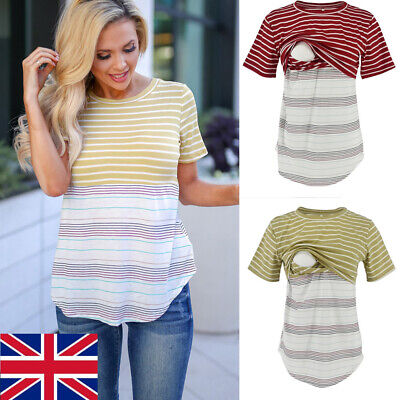 UK Maternity Clothes Breastfeeding  T-Shirt nursing Tops For Pregnant Womens