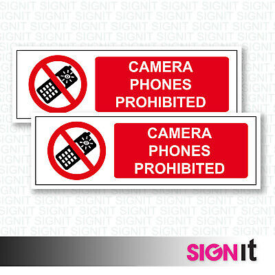 Camera Phones Prohibited - No Mobiles Sign Vinyl Sticker (50mm x 150mm)
