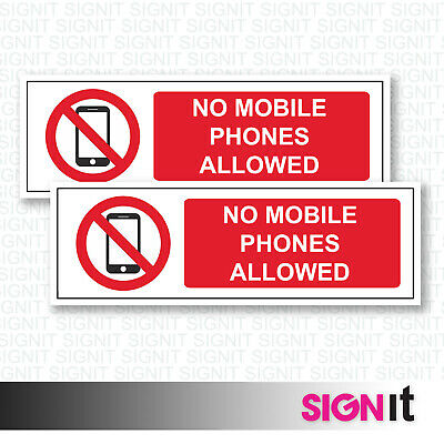 No Mobiles - No Mobile Phones Allowed Sign Vinyl Sticker (50mm x 150mm)