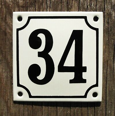 CLASSIC ENAMEL HOUSE NUMBER 34 SIGN. BLACK No.34 ON A CREAM BACKGROUND. 10x10cm.