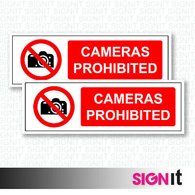 Cameras Prohibited - No Photography Sign Vinyl Sticker (50mm x 150mm)
