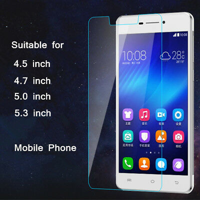 Universal 9H Tempered Glass Screen Protector Cover Film 4.5/4.7/5/5.3/5.5 Inch