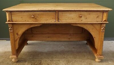 Solid Pine Writing Desk Made from Reclaimed Wood in Antique Style