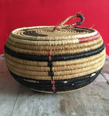 RARE Old Native American ANTIQUE APACHE MISSION Basket With Lid