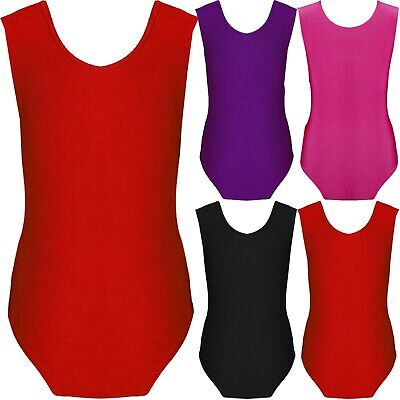 Kids Girls Gymnastics Leotard Dance Sleeveless Round Neck Bodysuit Top Childrens
