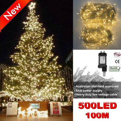 Warm White 500LED 100M Ourdoors Christmas Fairy String Lights Wedding Garden