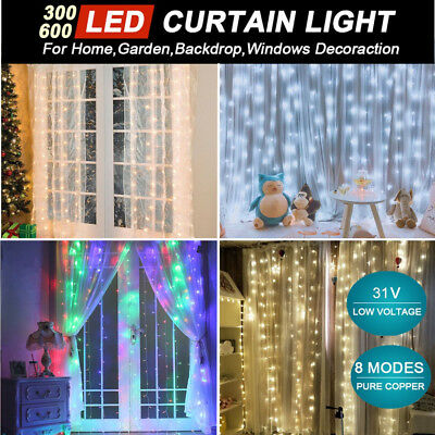 300/600LED Window Curtain Fairy String Light Wedding Party Garden Waterfall