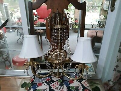 """Beautiful 18"""" Brass & Draped Glass Crystal 2 Arm Electric Wall Sconce w/ Shades"""