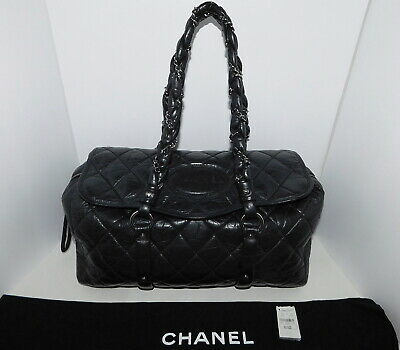 82f8ceb143c8 CHANEL DISTRESSED LAMBSKIN Quilted LADY BRAID Black Flap Tote HandBag  Authentic