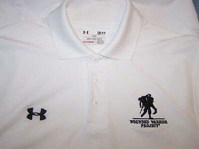f3e4847f Under Armour Heat Gear White Polo Shirt WOUNDED WARRIOR PROJECT logo S 40