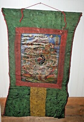 Antique Painted Tibetan Chinese Nepal Thangka Tapestry Panel Scroll Signed #1