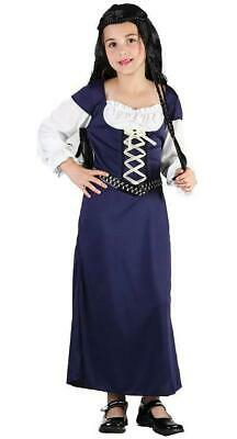 Girls Medieval Maiden Fancy Dress Costume Robin Hood Maid Marion Blue