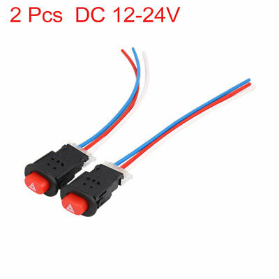 uxcell 12V Black Round Head SPST Momentary Car Push Button Switch 2 Pcs a13112500ux0051