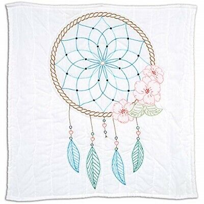 "Jack Dempsey Stamped White Wall Or Lap Quilt 36""x36""-dream Catcher"
