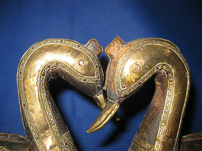 Pair Of Antique Asian Reppouse Wood Carved Brass Copper Swans