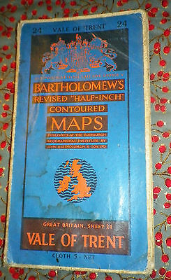 Vintage Bartholomew's half-inch contoured Cloth map No.24 Vale of Trent