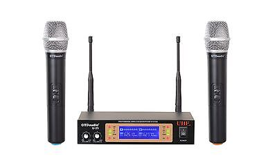GTD Audio 2Ch UHF Handheld Wireless Microphone Mic System NEW 35H  #