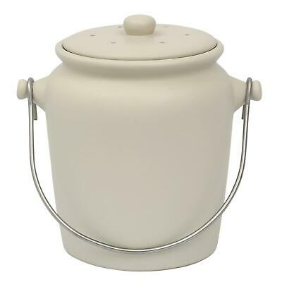 Garden Trading Ceramic Kitchen Compost Caddy/Food Bin – Off-White – 3.5L Size