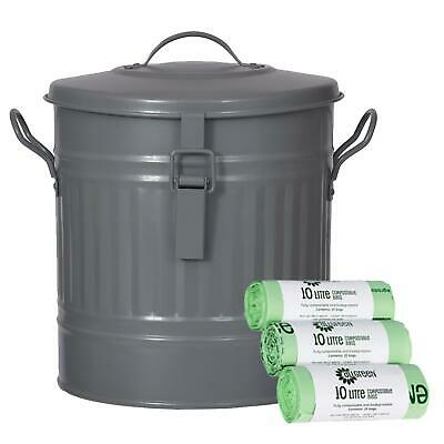 Garden Trading Outdoor Steel Compost Bucket/Bin–Charcoal-13.5L & 75 x 10L Bags