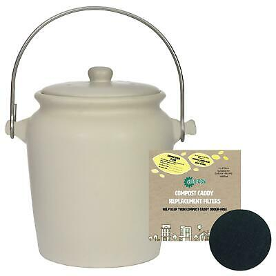 Garden Trading Ceramic Compost Caddy/Food Bin–Off-White–3.5L & 1 x Filter Pack