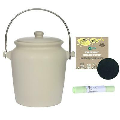 Garden Trading Ceramic CompostCaddy/FoodBin–OffWhite–3.5L,1xFilterPack&25x5LBags