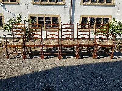 A Pretty Set of 6 Vintage Oak Rustic Farmhouse Style Chairs with Floral Seating