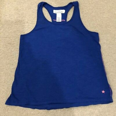 H&M Girls Royal Blue Racerback T-Shirt With Pink Stitching Age 10-12Yr