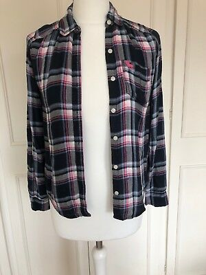 Girls Abercrombie & Fitch Plaid Button Up Shirt In Navy & Pink 13-4 Years