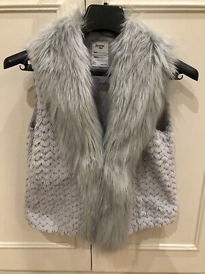 Mayoral Girls Faux Fur Gilet In A Lilac/Silver Grey With Sequins Age 14 Years