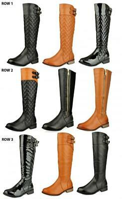 Womens Ladies Knee High Low Heel Flat Calf Quilted Riding Winter Boots Size 3,4