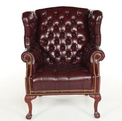 Federal Style Leather Wingback Tufted Armchair by Smithe-Craft