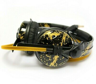 Custom Cans High Gloss Black + Gold Splatter HD25 DJ Headphones 2yr Warranty