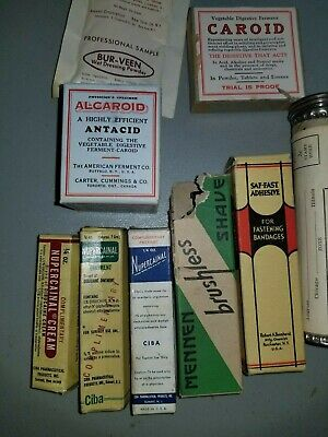 10 Early 1900S Antique Vintage Medical Ointments Shave  All Complete Items