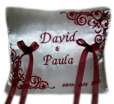 New Personalised Wedding Ring Cushion Red White Ivory Burgundy Gold any colour