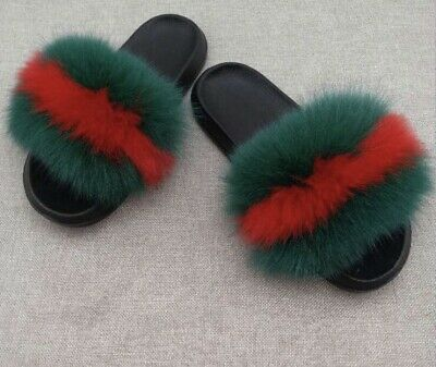9bcc519d2 Women's Real Fox Fur Slides Fuzzy Furry Slippers Comfort Sliders Sandals  Shoes Q