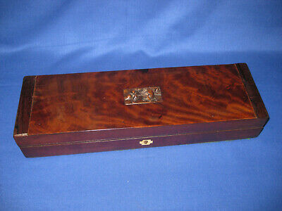Antique 19th Century Cartouche Carved Mahogany Glove Box With Old Paper Marbling