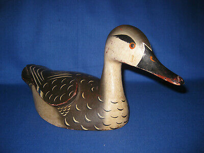 """Collectible Vintage Wood Carved Duck Decoys Female Gadwall. 14""""1/2   37CM"""