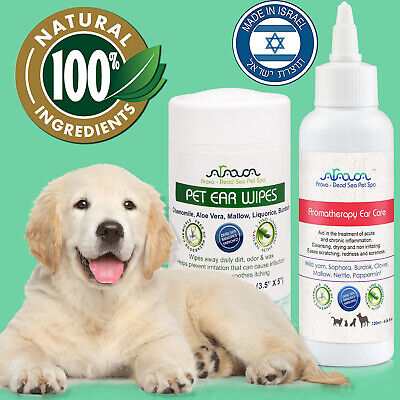 Natural Dog Ear Yeast Bacterial Itching Fungal Infection Treatment & Wipes Arava
