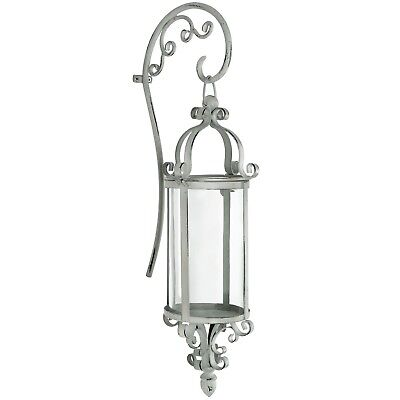 Antique Cream Ornate Decoration Metal Glass Lantern Candle Holder Wall Sconce
