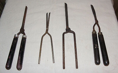 Lot De 4 Anciens Fers A Friser Lot Of 4 Old Fers A Friser