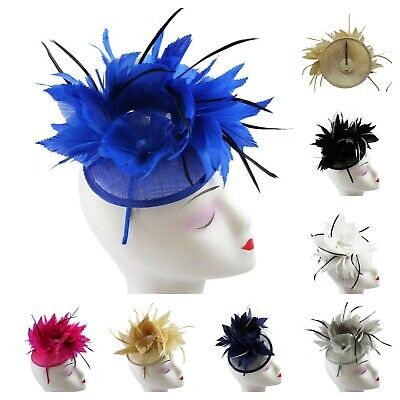 Elegant Flower Feather Fascinator Headband Clip Wedding Royal Ascot Race Party