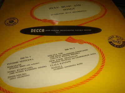 Very Rare Zulu Music And Songs Authentic Recordings 1951 A Fantastic Copy Mint-