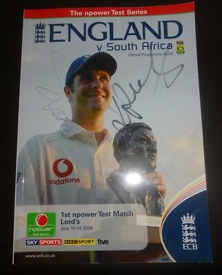 England v South Africa Test Programme Lord's July 2008 Autographed KP Anderson