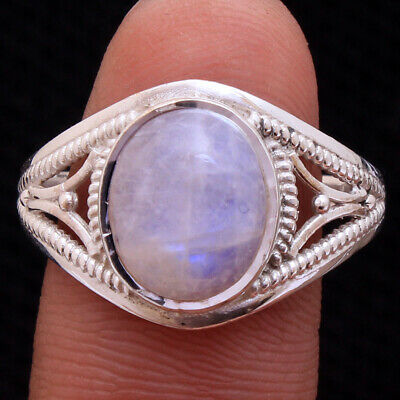 Rainbow Moonstone 925 Sterling Silver Jewelry Gemstone Ring Size us 9