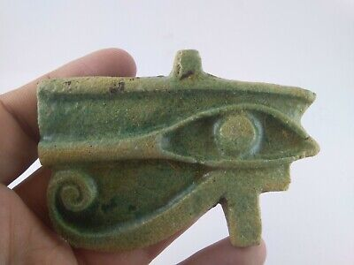 Rare Ancient Egyptian Large Faience Eye Of Horus Amulet, 1175 - 800 B.c