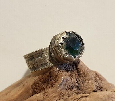 Antique Near Eastern Ring with Faceted Green Glass Stone