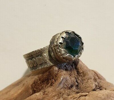 Antique Post Medieval Near Eastern Ring with Faceted Green Glass Stone
